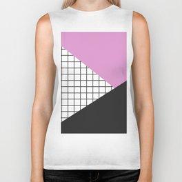 Geometry: black, pink and squres Biker Tank