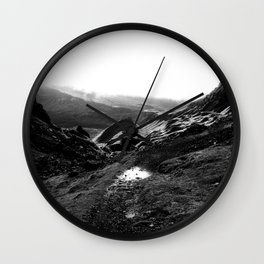 Quiraing in Black and White Wall Clock
