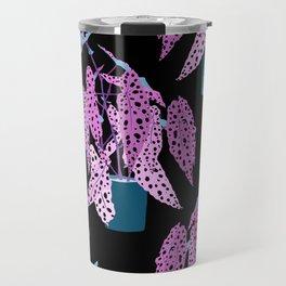 Simple Potted Polka Dot Begonia Plants in Black + Magenta Travel Mug