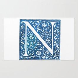 Letter N Antique Floral Letterpress Rug