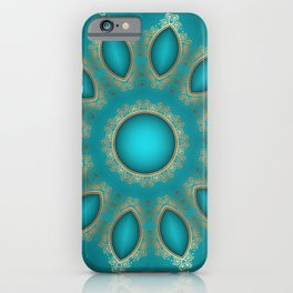 Gold Lace and Teal Jewels iPhone Case