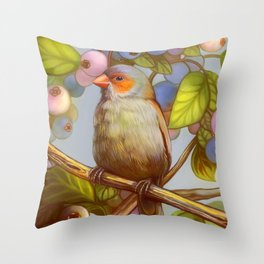 Orange cheeked waxbill finch with blueberries Throw Pillow