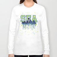 seahawks Long Sleeve T-shirts featuring Seattle 12th Man Art Watercolor Space Needle Painting  by Olechka