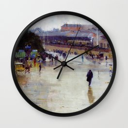 Arthur Streeton - The Railway Station, Redfern - Digital Remastered Edition Wall Clock