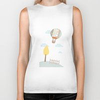 baloon Biker Tanks featuring baloon collage by flying bathtub