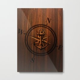 Wooden Anchor Metal Print