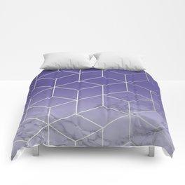Geometric Marble Ultraviolet Purple Gold Comforters