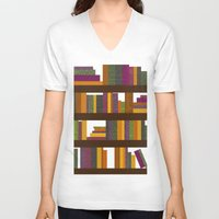 books V-neck T-shirts featuring Books by Sara Robish Andrews