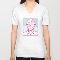 engineer V-neck T-shirts featuring Construction Engineer Worker Hardhat by retrovectors