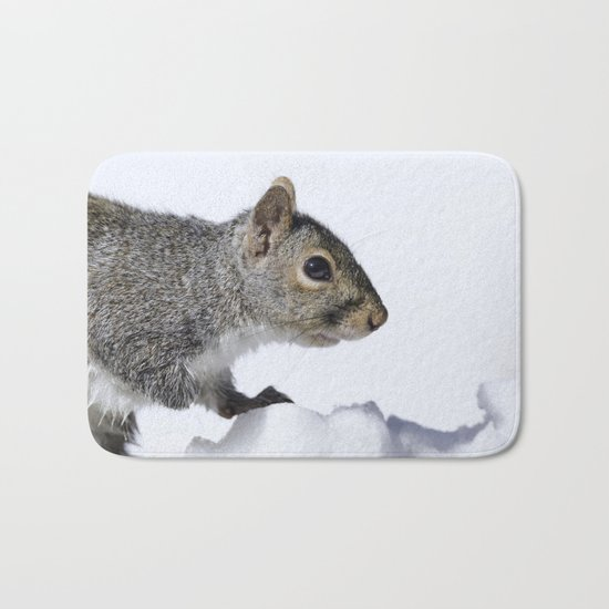 Snow Squirrel Bath Mat