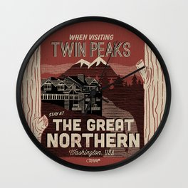 the Great Northern Hotel (Faux Canvas - rust) Wall Clock