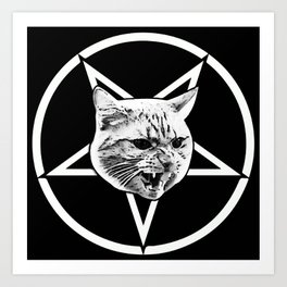 Catagram - Cat Face On Pentagram White on Black Art Print