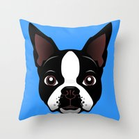 boston Throw Pillows featuring boston by the art of dang