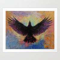 crow Art Prints featuring Crow by Michael Creese