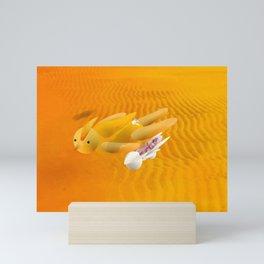 Time bunny girl with Robo Mini Art Print
