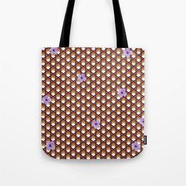 Brown Wicker With Purple Flowers Tote Bag