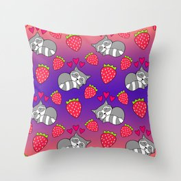 Cute funny sweet adorable sleeping baby raccoons, little pink hearts and red ripe summer strawberries cartoon bright sunny orange purple pattern design Throw Pillow