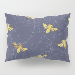 Flying Gold Bees On A Dark Blue Background Pillow Sham
