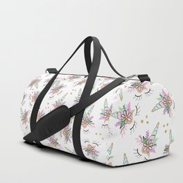 Modern cute whimsical floral unicorn pattern illustration gold glitter polka dots Duffle Bag