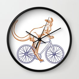 Kangaroo on a bike Wall Clock