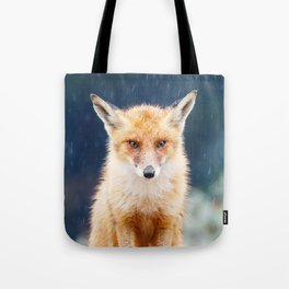 I Can't Stand the Rain (Red Fox in a rain shower) Tote Bag