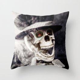The Dapper Skeleton Throw Pillow