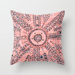 Light Pink Wildflower Sunshine I // 18th Century Colorful Pinkish Dusty Blue Gray Positive Pattern Throw Pillow