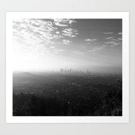 Los Angeles. L.A. Skyline. Black and White. Jodilynpaintings. Sunrise. Sunset. Cityscape. California Art Print