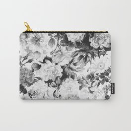 Black gray modern watercolor roses floral pattern Carry-All Pouch