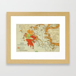 Vintage Map of Ancient Greece (1904) Framed Art Print
