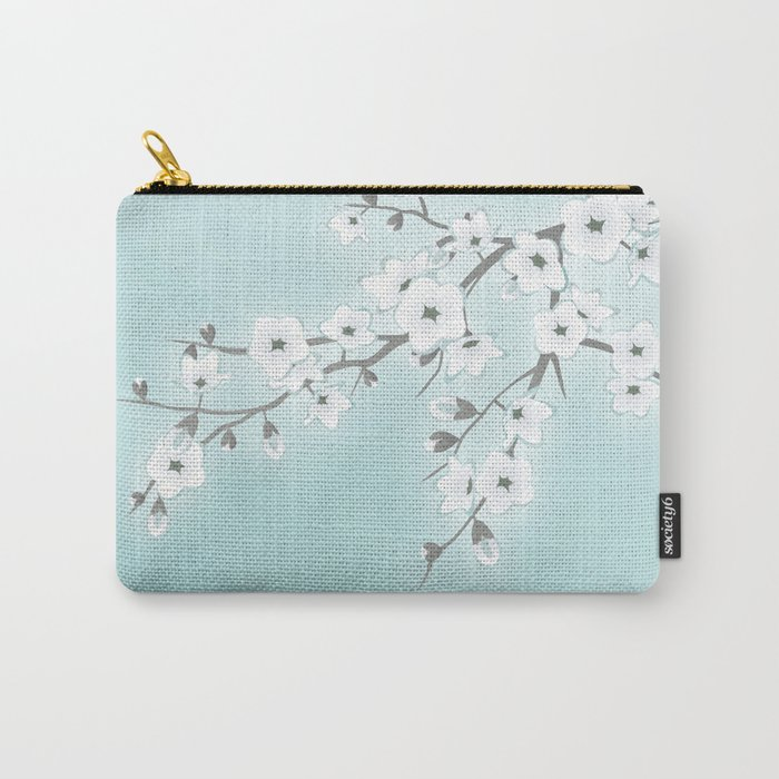 Cherry Blossoms Mint White Carry-All Pouch