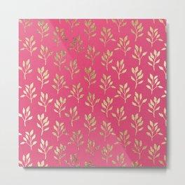 Elegant faux gold neon pink modern floral illustration Metal Print