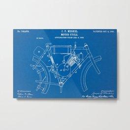 1902 J. F. Merkel Motorcycle Blueprint Patent Metal Print
