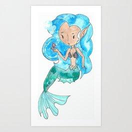 a Mermaid and Seahorse  Art Print