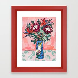 Cockatoo Vase on Painterly Pink Framed Art Print
