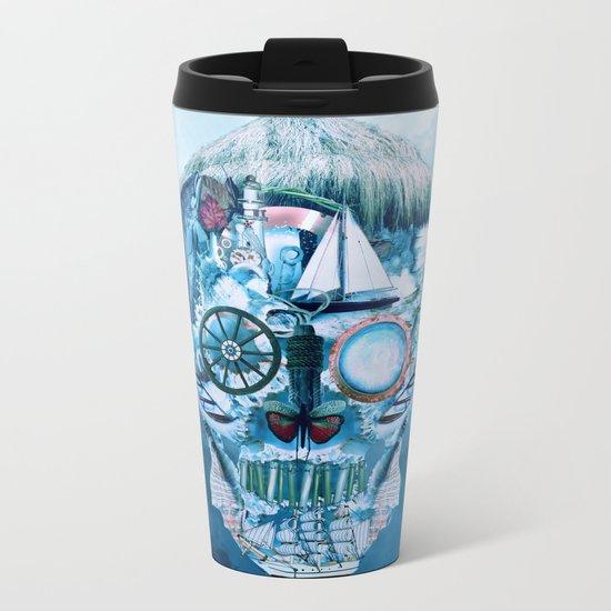 Skull Ocean Blue Metal Travel Mug