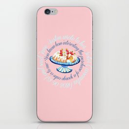 Jane Austen quote about sponge cake // watercolor cake iPhone Skin