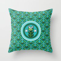 deco Throw Pillows featuring 8bit Deco by Bubblegun