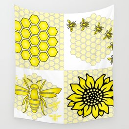 Save the Bees Four Designs Wall Tapestry