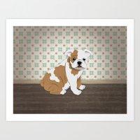 english bulldog Art Prints featuring English Bulldog by The Labs & Co.