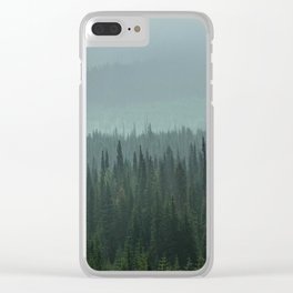 Misty Pine Trees Photography, Forest Mountain Landscape Photography Clear iPhone Case