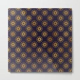 Blue Gold Sun Disks Metal Print