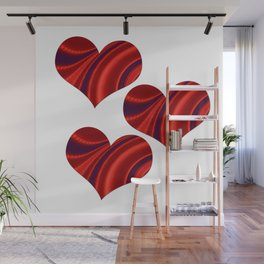 Fractal Heart Trio Wall Mural