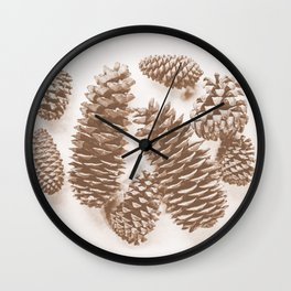 Sepia Pinecones Wall Clock