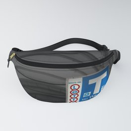 Blue Tabacchi Lotto Bologna Sign Black and White Photography Fanny Pack