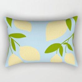 Lemon Tree Illustration against a blue sky Rectangular Pillow