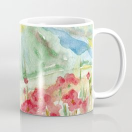Mountain flowers. Abstract watercolor landscape Coffee Mug