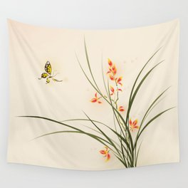 Oriental style painting - orchid flowers and butterfly 003 Wall Tapestry