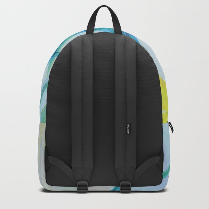 yellow iris on a blue background Backpack