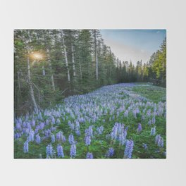 High Country Lupine - Purple Wildflowers in Montana Mountains Throw Blanket